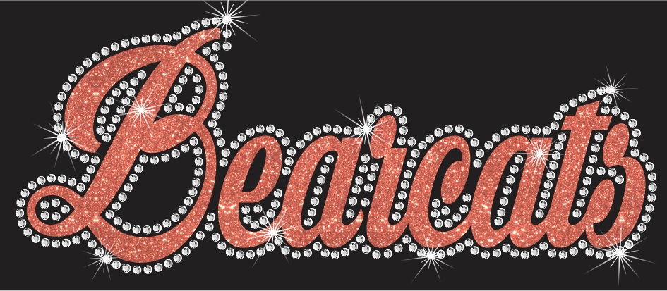 Bearcats Cursive Vinyl and Rhinestone Transfer